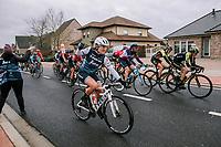 Lauretta Hanson (AUS/Trek-Segafredo) NOT catching a bidon<br /> <br /> Omloop van het Hageland 2019<br /> 133km from Tienen to Tielt - Winge (BEL)<br /> <br /> ©JoJo Harper for Kramon