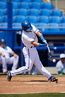 Dunedin Blue Jays shortstop Logan Warmoth (2) swings at a pitch during a game against the Daytona Tortugas on April 22, 2018 at Dunedin Stadium in Dunedin, Florida.  Daytona defeated Dunedin 5-1.  (Mike Janes/Four Seam Images)