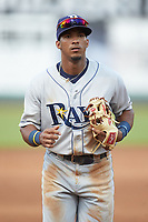 Wander Franco (6) of the Princeton Rays jogs off the field between innings of the game against the Pulaski Yankees at Calfee Park on July 14, 2018 in Pulaski, Virginia. The Rays defeated the Yankees 13-1.  (Brian Westerholt/Four Seam Images)