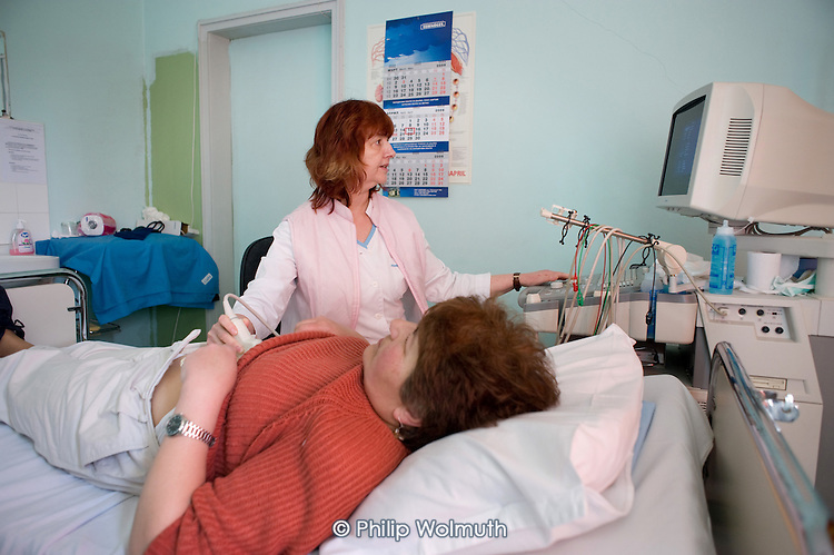 Dr Antoaneta Stoykova, Cardiologist and Medical Director at the Multiprofil Hospital, Gabrovo, Bulgaria, conducts an ultrasound scan.