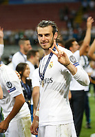 Calcio, finale di Champions League: Real Madrid vs Atletico Madrid. Stadio San Siro, Milano, 28 maggio 2016.<br /> Real Madrid's Gareth Bale celebrates at the end of the Champions League final match against Atletico Madrid, at Milan's San Siro stadium, 28 May 2016. Real Madrid won 5-4 on penalties after the game ended 1-1.<br /> UPDATE IMAGES PRESS/Isabella Bonotto