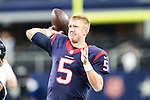 Houston Texans quarterback Brandon Weeden (5) in action before the pre-season game between the Houston Texans and the Dallas Cowboys at the AT & T stadium in Arlington, Texas.