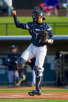 UNCG Spartans catcher Cambric Moye (30) on defense against the Georgia Southern Eagles at UNCG Baseball Stadium on March 29, 2013 in Greensboro, North Carolina.  The Spartans defeated the Eagles 5-4.  (Brian Westerholt/Four Seam Images)