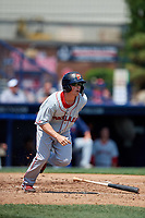 Portland Sea Dogs left fielder Tony Renda (11) runs to first base during the first game of a doubleheader against the Reading Fightin Phils on May 15, 2018 at FirstEnergy Stadium in Reading, Pennsylvania.  Portland defeated Reading 8-4.  (Mike Janes/Four Seam Images)