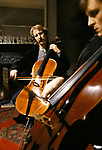 Alan Rickman, British actor, playing cello on film set of 'Truly, Madly, Deeply'.