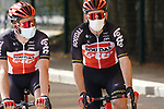 Tosh Van Der Sande and Harm Vanhoucke (BEL) Lotto-Soudal  head to sign on before the start of Stage 3 of the 2021 UAE Tour running 166km from Al Ain to Jebel Hafeet, Abu Dhabi, UAE. 23rd February 2021.  <br /> Picture: Eoin Clarke | Cyclefile<br /> <br /> All photos usage must carry mandatory copyright credit (© Cyclefile | Eoin Clarke)