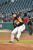 Michael Brady (26) of the Salt Lake Bees delivers a pitch to the plate against the Las Vegas 51s at Smith's Ballpark on May 8, 2014 in Salt Lake City, Utah.  (Stephen Smith/Four Seam Images)
