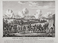 Spain (1808). Peninsular War. Capture of Madrid, capital of the kingdom of Spain. French troops. Etching. SPAIN. Madrid. Natio