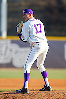 High Point Panthers relief pitcher Sean Barry (17) looks to his catcher for the sign against the Bowling Green Falcons at Willard Stadium on March 9, 2014 in High Point, North Carolina.  The Falcons defeated the Panthers 7-4.  (Brian Westerholt/Four Seam Images)