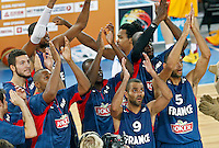 """France`s  Tony Parker (R) and his teammates celebrate victory after European basketball championship """"Eurobasket 2013"""" semifinal basketball game between Spain and France in Stozice Arena in Ljubljana, Slovenia, on September 20. 2013. (credit: Pedja Milosavljevic  / thepedja@gmail.com / +381641260959)"""