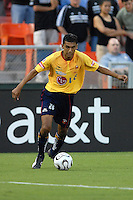 Monarcas Morelia defender Hugo Sanchez (20) gets ready to make a pass during the game. Monarcas Morelia tied DC United 1-1 in the SuperLiga opening match in group B, at RFK Stadium in Washington DC, Wednesday July 25, 2007.