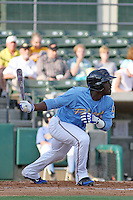 Myrtle Beach Pelicans shortstop Odubel Herrera #24 at bat during the first game of a doubleheader against the Carolina Mudcats at Tickerreturn.com Field at Pelicans Ballpark on May 10, 2012 in Myrtle Beach, South Carolina. Myrtle Beach defeated Carolina by the score of 2-1. (Robert Gurganus/Four Seam Images)