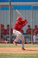 Philadelphia Phillies Andrick Nava (10) bats during an exhibition game against the Canada Junior National Team on March 11, 2020 at Baseball City in St. Petersburg, Florida.  (Mike Janes/Four Seam Images)