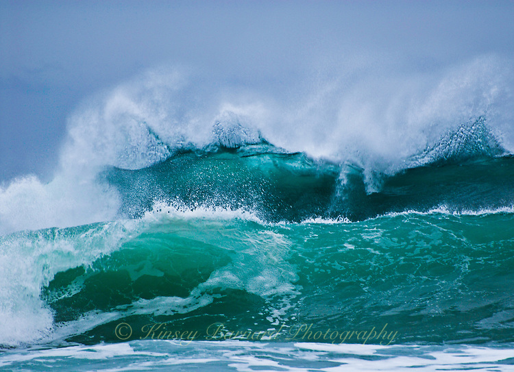 """""""RAGE OF WAVES""""<br /> <br /> Gorgeous aquamarine waves breaking and forming spindrifts on the Oregon Coast"""