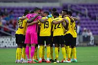 ORLANDO, FL - JULY 20: Jamaica huddling during a game between Costa Rica and Jamaica at Exploria Stadium on July 20, 2021 in Orlando, Florida.