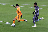 ST PAUL, MN - OCTOBER 18: Memo Rodriguez #8 of Houston Dynamo takes a shot during a game between Houston Dynamo and Minnesota United FC at Allianz Field on October 18, 2020 in St Paul, Minnesota.