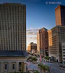Main Street Dayton Ohio in evening. Looking north from Third & Main