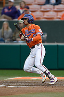 Third baseman Sam Hall (5) of the Clemson Tigers bats  in a game against the South Alabama Jaguars on Opening Day, Friday, February 15, 2019, at Doug Kingsmore Stadium in Clemson, South Carolina. Clemson won, 6-2. (Tom Priddy/Four Seam Images)
