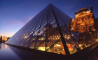 France Paris The Louvre museum at dusk