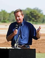 Jun. 16, 2009; Casa Grande, AZ, USA; Las Vegas head coach Jim Fassel speaks during the groundbreaking of the Casa Grande Training Facility & Performance Institute in Casa Grande. Mandatory Credit: Mark J. Rebilas-