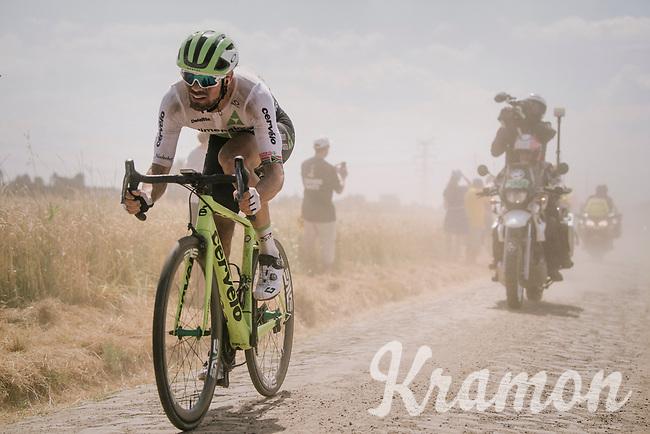 Reinardt Janse van Rensburg (ZAF/Dimension Data) emerging from the dust on pavé sector #6<br /> <br /> Stage 9: Arras Citadelle > Roubaix (154km)<br /> <br /> 105th Tour de France 2018<br /> ©kramon