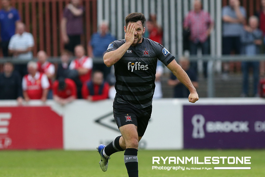Dundalk's Patrick Hoban celebrates after scoring a goal during the SSE Airtricity League Premier Division game between St Patrick's Athletic and Dundalk on Friday 5th July 2018 at Richmond Park, Dublin. Photo By Michael P Ryan