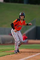 AZL Giants shortstop Nico Giarratano (9) takes a lead off third base during a game against the AZL Angels on July 9, 2017 at Diablo Stadium in Tempe, Arizona. AZL Giants defeated the AZL Angels 8-4. (Zachary Lucy/Four Seam Images)