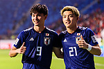 Minamino Takumi of Japan (L) and Doan Ritsu of Japan (R) celebrates their win after the AFC Asian Cup UAE 2019 Quarter Finals match between Vietnam (VIE) and Japan (JPN) at Al Maktoum Stadium on 24 January 2019 in Dubai, United Arab Emirates. Photo by Marcio Rodrigo Machado / Power Sport Images