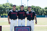 STANFORD, CA - MAY 29: Grant Burton, Zach Sehgal, David Esquer before a game between Oregon State University and Stanford Baseball at Sunken Diamond on May 29, 2021 in Stanford, California.