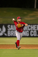 AZL Angels second baseman Zane Gurwitz (8) makes a throw to first base against the AZL White Sox on August 14, 2017 at Diablo Stadium in Tempe, Arizona. AZL Angels defeated the AZL White Sox 3-2. (Zachary Lucy/Four Seam Images)