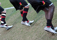 COLLEGE PARK, MD - OCTOBER 19, 2012:  Silver cleats of the University of Maryland in unison before the University of North Carolina ACC match at Ludwig Field in College Park, MD on October 19. Maryland won 1-0 AET.