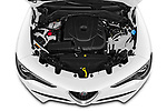 Car Stock 2020 Alfaromeo Stelvio Super 5 Door SUV Engine  high angle detail view
