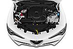 High angle engine detail of a 2020 Alfa Romeo Stelvio Super 5 Door SUV