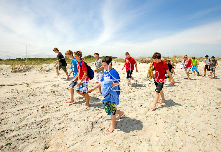 Troop 10 Boy Scouts playing at Huntington Beach State Park.