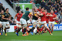 Battle of he back row - Schalk Burger of South Africa versus Sam Warburton of Wales during Match 41 of the Rugby World Cup 2015 between South Africa and Wales - 17/10/2015 - Twickenham Stadium, London<br /> Mandatory Credit: Rob Munro/Stewart Communications
