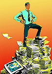 Businessman standing on papers