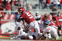 Arkansas running back Rakeem Boyd (5) scores, Saturday, October 17, 2020 during the first quarter of a football game at Donald W. Reynolds Razorback Stadium in Fayetteville. Check out nwaonline.com/201018Daily/ for today's photo gallery. <br /> (NWA Democrat-Gazette/Charlie Kaijo)