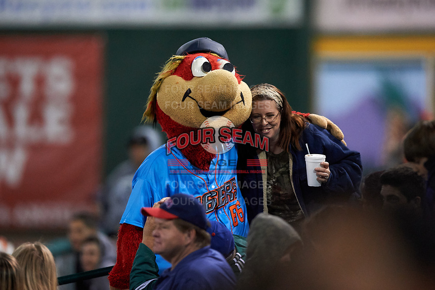 Inland Empire 66ers mascot Bernie takes a photo with a fan during a California League game against the Lancaster JetHawks at San Manuel Stadium on May 18, 2018 in San Bernardino, California. Lancaster defeated Inland Empire 5-3. (Zachary Lucy/Four Seam Images)