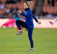 HOUSTON, TX - JANUARY 31: Emily Sonnett #2 of the United States warms up during a game between Panama and USWNT at BBVA Stadium on January 31, 2020 in Houston, Texas.