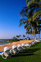 Honolulu, Oahu, Hawaii, Hawaiian Islands, USA, United States - Tropical Beach Resort, Lounge and Lawn Chairs along Oceanfront