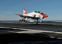 081210-N-7981E-331 PACIFIC OCEAN (December 10, 2008)- A T-45 Goshawk assigned to Carrier Training Wing (CTW) 1 makes an arrested landing on the flight deck of USS Abraham Lincoln (CVN 72).  Lincoln is underway on a scheduled work-up, conducting training and carrier qualifications.  (U.S. Navy photo by Mass Communication Specialist 2nd Class James R. Evans/Released)