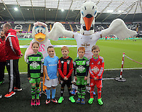 Children mascots with Cyril and Cybil the Swans club mascots before the Barclays Premier League match between Swansea City and Bournemouth at the Liberty Stadium, Swansea on November 21 2015