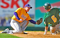 19 April 2009: University at Albany Great Danes' infielder Sean Donovan, a Senior from Pleasant Valley, NY, gets University of Vermont Catamount outfielder Corey Moylan, out at second during a game at Historic Centennial Field in Burlington, Vermont. The Great Danes defeated the Catamounts 9-4 in the second game of a double-header. Sadly, the Catamounts are playing their last season of baseball, as the program has been marked for elimination due to budgetary constraints on the University. Mandatory Photo Credit: Ed Wolfstein Photo