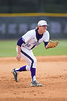 High Point Panthers third baseman Ryan Mason (20) on defense against the NJIT Highlanders during game one of a double-header at Williard Stadium on February 18, 2017 in High Point, North Carolina.  The Panthers defeated the Highlanders 11-0.  (Brian Westerholt/Four Seam Images)