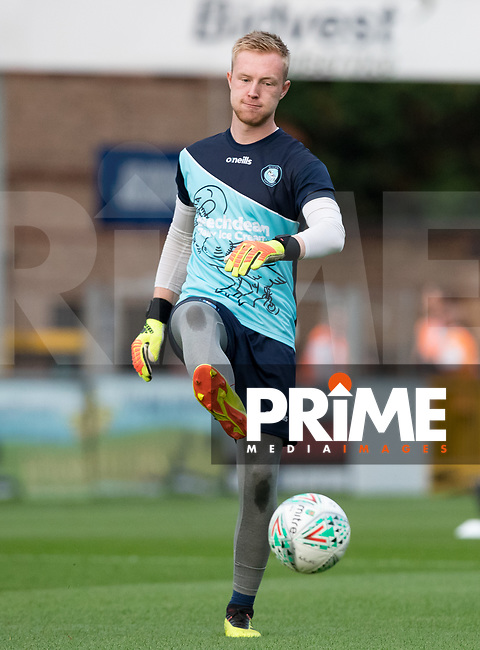 Trialist Goalkeeper Cameron Yates pre match during the Carabao Cup 2nd round match between Wycombe Wanderers and Forest Green Rovers at Adams Park, High Wycombe, England on 28 August 2018. Photo by Andy Rowland.