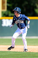 Notre Dame Fighting Irish outfielder Conor Biggio #10 leads off second during a game against the Mercer Bears at the Buck O'Neil Complex on February 17, 2013 in Sarasota, Florida.  Mercer defeated Notre Dame 5-4.  (Mike Janes/Four Seam Images)