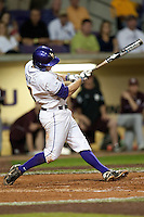 LSU Tigers first baseman Mason Katz #8 swings against the Mississippi State Bulldogs during the NCAA baseball game on March 16, 2012 at Alex Box Stadium in Baton Rouge, Louisiana. LSU defeated Mississippi State 3-2 in 10 innings. (Andrew Woolley / Four Seam Images)..