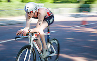 31 MAY 2014 - LONDON, GBR - PT4 competitor George Peasgood (GBR) of Great Britain races around Hyde Park in London during the 2014 ITU World Triathlon Series paratriathlon round in Great Britain (PHOTO COPYRIGHT © 2014 NIGEL FARROW, ALL RIGHTS RESERVED)