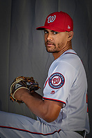 22 February 2019: Washington Nationals pitcher Joe Ross poses for his Photo Day portrait at the Ballpark of the Palm Beaches in West Palm Beach, Florida. Mandatory Credit: Ed Wolfstein Photo *** RAW (NEF) Image File Available ***