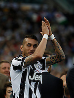 Calcio, Serie A: Juventus vs Napoli. Torino, Juventus Stadium, 23 maggio 2015. <br /> Juventus' Roberto Pereyra greets fans during celebrations for the victory of the Scudetto at the end of the Italian Serie A football match between Juventus and Napoli at Turin's Juventus Stadium, 23 May 2015.<br /> UPDATE IMAGES PRESS/Isabella Bonotto
